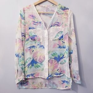 Tops - Floral Sheer High-low Blouse S
